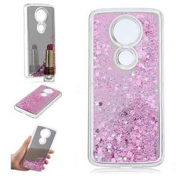 Glitter Sand Mirror Quicksand Dynamic Liquid Star TPU Case for Motorola Moto E5 Plus - Cherry Pink