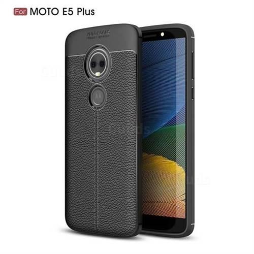 Luxury Auto Focus Litchi Texture Silicone TPU Back Cover for Motorola Moto E5 Plus - Black