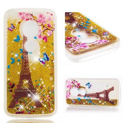 Dynamic Liquid Glitter Quicksand Soft TPU Case for Motorola Moto E5 Plus - Golden Tower