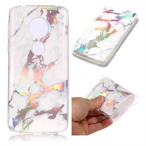 White Marble Pattern Bright Color Laser Soft TPU Case for Motorola Moto E5 Plus