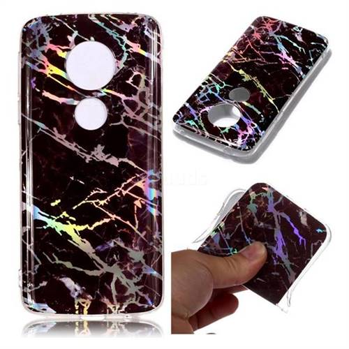 Black Brown Marble Pattern Bright Color Laser Soft TPU Case for Motorola Moto E5 Plus