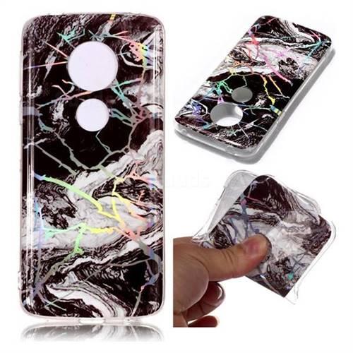 White Black Marble Pattern Bright Color Laser Soft TPU Case for Motorola Moto E5 Plus
