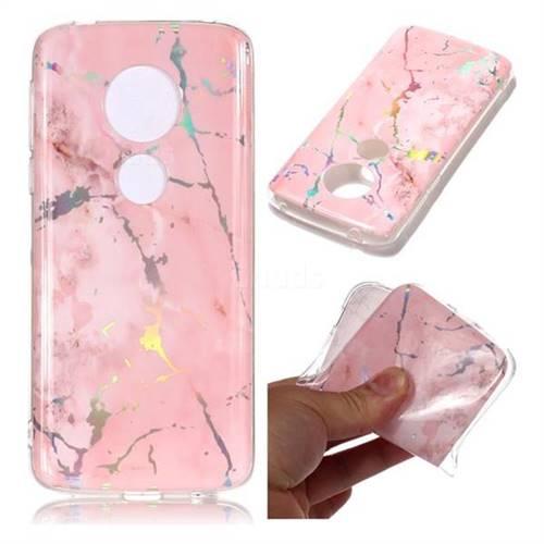 Powder Pink Marble Pattern Bright Color Laser Soft TPU Case for Motorola Moto E5 Plus