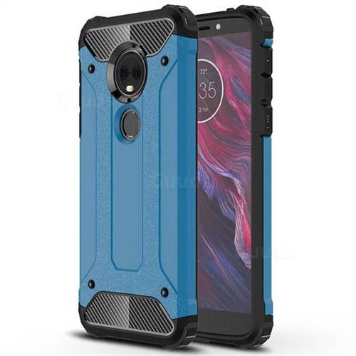 King Kong Armor Premium Shockproof Dual Layer Rugged Hard Cover for Motorola Moto E5 Plus - Sky Blue