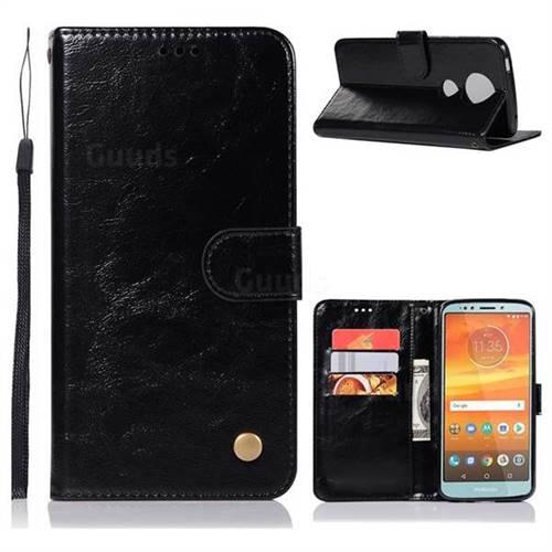 Luxury Retro Leather Wallet Case for Motorola Moto E5 Plus - Black