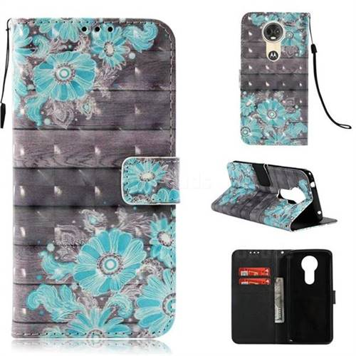 Blue Flower 3D Painted Leather Wallet Case for Motorola Moto E5 Plus