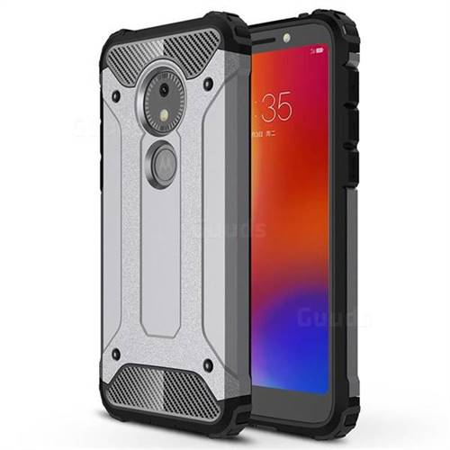 King Kong Armor Premium Shockproof Dual Layer Rugged Hard Cover for Motorola Moto E5 Play Go - Silver Grey