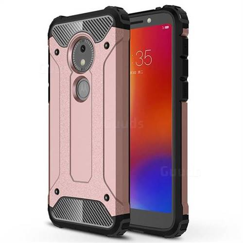 King Kong Armor Premium Shockproof Dual Layer Rugged Hard Cover for Motorola Moto E5 Play Go - Rose Gold