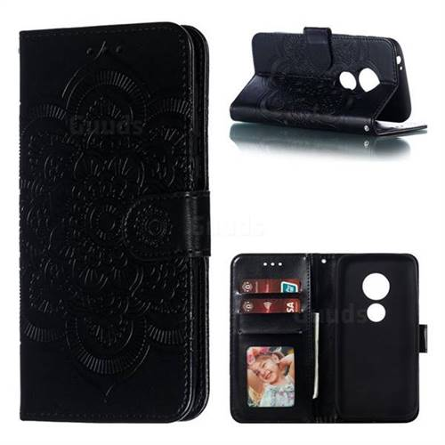 Intricate Embossing Datura Solar Leather Wallet Case for Motorola Moto E5 Play Go - Black