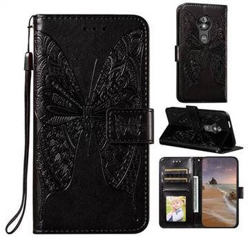 Intricate Embossing Vivid Butterfly Leather Wallet Case for Motorola Moto E5 Play Go - Black