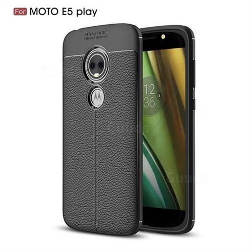 Luxury Auto Focus Litchi Texture Silicone TPU Back Cover for Motorola Moto E5 Play - Black