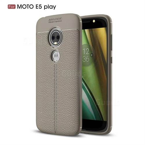 Luxury Auto Focus Litchi Texture Silicone TPU Back Cover for Motorola Moto E5 Play - Gray