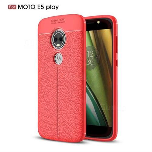 Luxury Auto Focus Litchi Texture Silicone TPU Back Cover for Motorola Moto E5 Play - Red