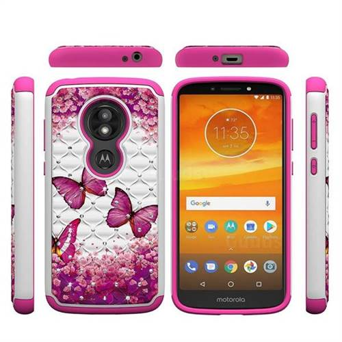 Rose Butterfly Studded Rhinestone Bling Diamond Shock Absorbing Hybrid Defender Rugged Phone Case Cover for Motorola Moto E5 Play