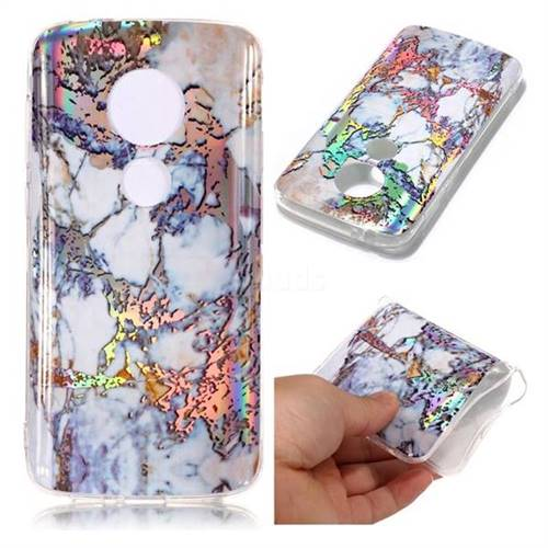 Gold Plating Marble Pattern Bright Color Laser Soft TPU Case for Motorola Moto E5 Play