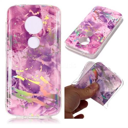 Purple Marble Pattern Bright Color Laser Soft TPU Case for Motorola Moto E5 Play