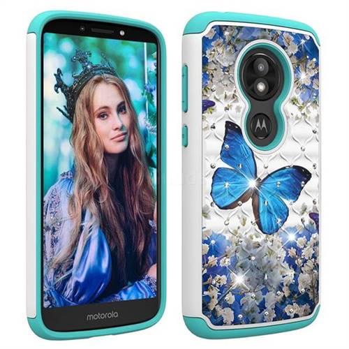 Flower Erfly Studded Rhinestone Bling Diamond Shock Absorbing Hybrid Defender Rugged Phone Case Cover For Motorola