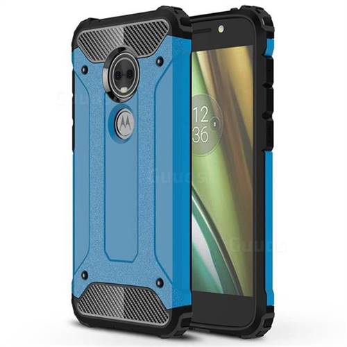 King Kong Armor Premium Shockproof Dual Layer Rugged Hard Cover for Motorola Moto E5 Play (Moto E5 Cruise) - Sky Blue