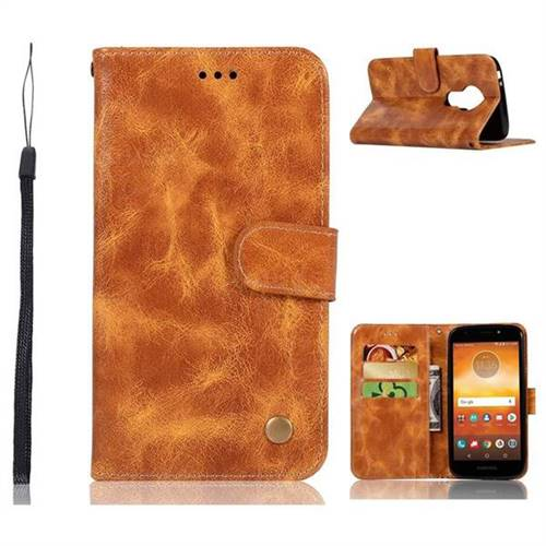 Luxury Retro Leather Wallet Case for Motorola Moto E5 Play - Golden