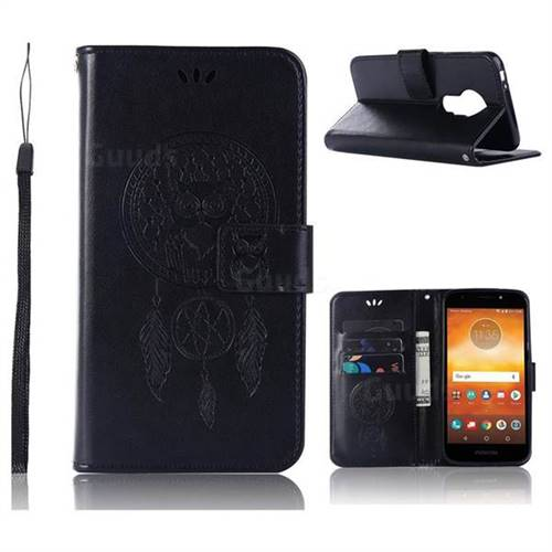 Intricate Embossing Owl Campanula Leather Wallet Case for Motorola Moto E5 Play - Black