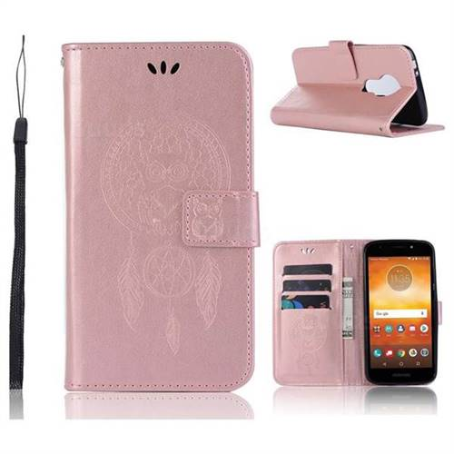 Intricate Embossing Owl Campanula Leather Wallet Case for Motorola Moto E5 Play - Rose Gold