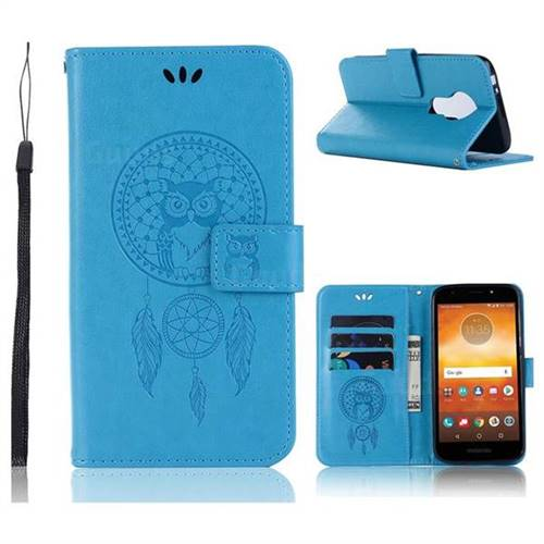 Intricate Embossing Owl Campanula Leather Wallet Case for Motorola Moto E5 Play - Blue