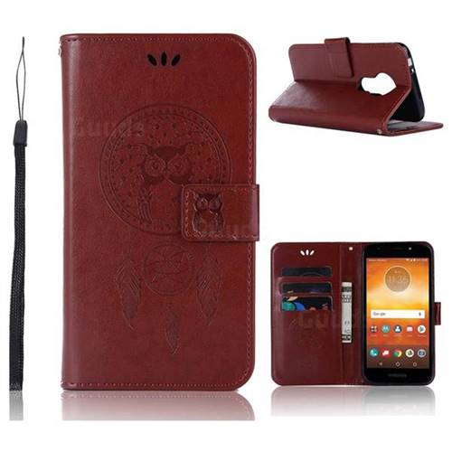 Intricate Embossing Owl Campanula Leather Wallet Case for Motorola Moto E5 Play - Brown