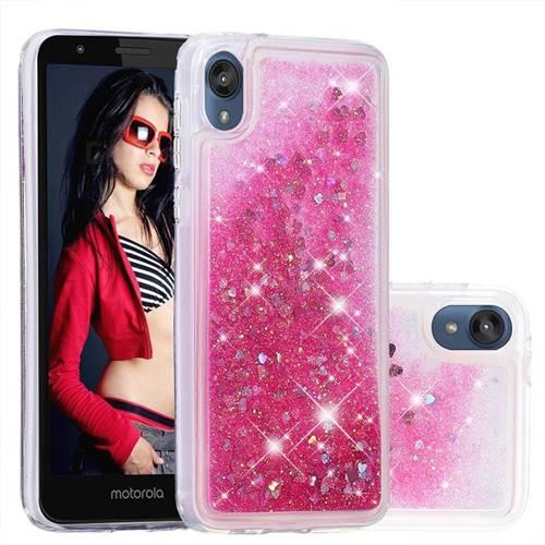 Dynamic Liquid Glitter Quicksand Sequins TPU Phone Case for Motorola Moto E6 - Rose