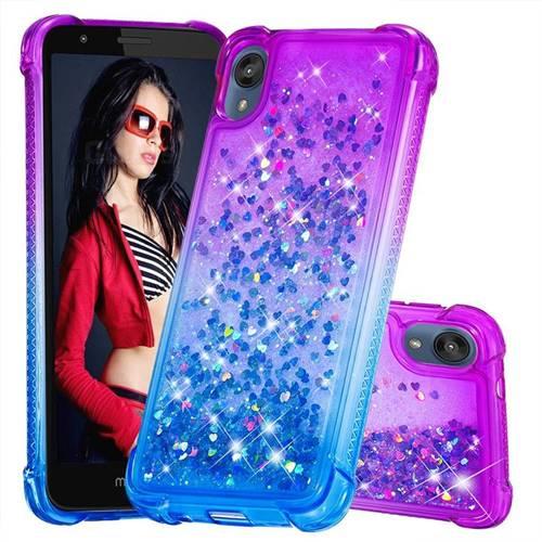 Rainbow Gradient Liquid Glitter Quicksand Sequins Phone Case for Motorola Moto E6 - Purple Blue