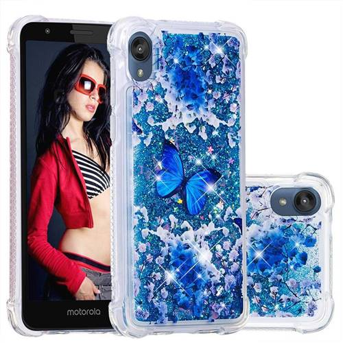 Flower Butterfly Dynamic Liquid Glitter Sand Quicksand Star TPU Case for Motorola Moto E6
