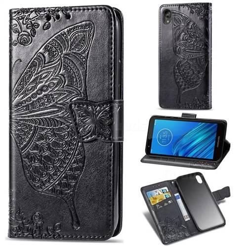 Embossing Mandala Flower Butterfly Leather Wallet Case for Motorola Moto E6 - Black