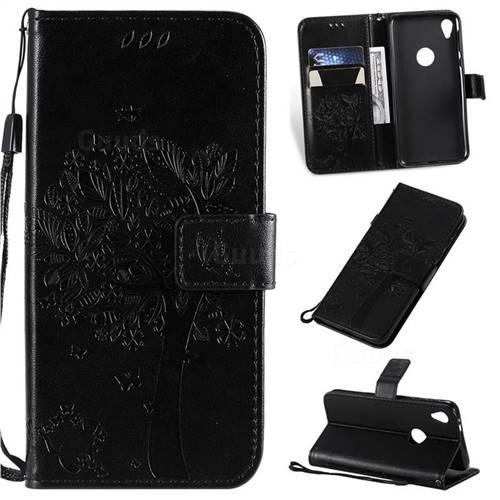 Embossing Butterfly Tree Leather Wallet Case for Motorola Moto E6 - Black