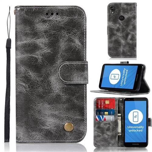 Luxury Retro Leather Wallet Case for Motorola Moto E6 - Gray