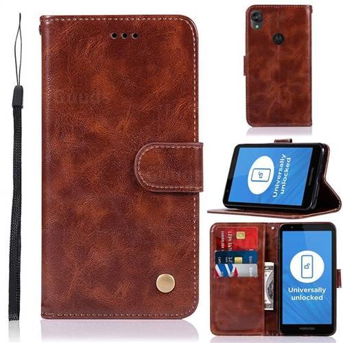 Luxury Retro Leather Wallet Case for Motorola Moto E6 - Brown