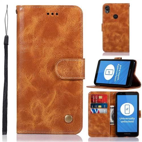 Luxury Retro Leather Wallet Case for Motorola Moto E6 - Golden