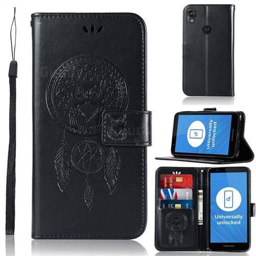 Intricate Embossing Owl Campanula Leather Wallet Case for Motorola Moto E6 - Black