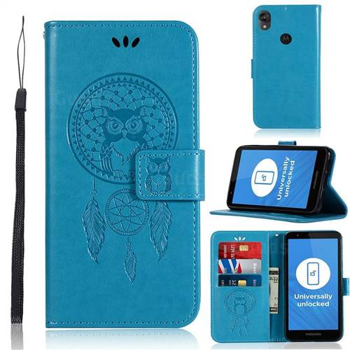 Intricate Embossing Owl Campanula Leather Wallet Case for Motorola Moto E6 - Blue