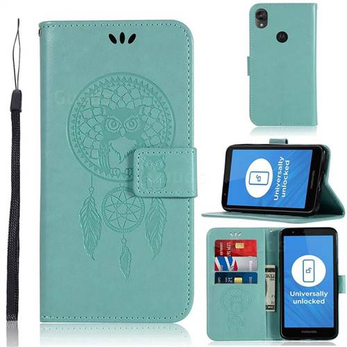 Intricate Embossing Owl Campanula Leather Wallet Case for Motorola Moto E6 - Green