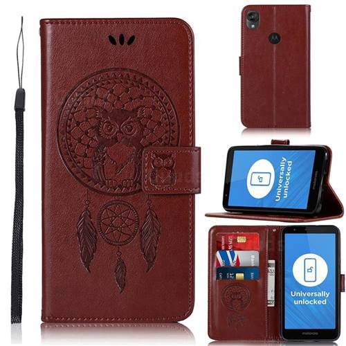 Intricate Embossing Owl Campanula Leather Wallet Case for Motorola Moto E6 - Brown