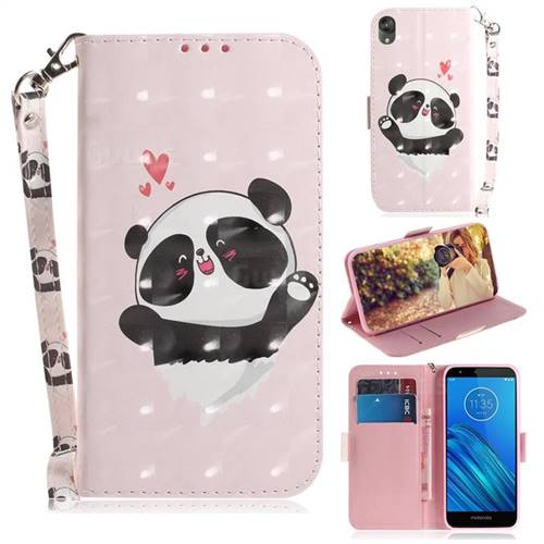 Heart Cat 3D Painted Leather Wallet Phone Case for Motorola Moto E6