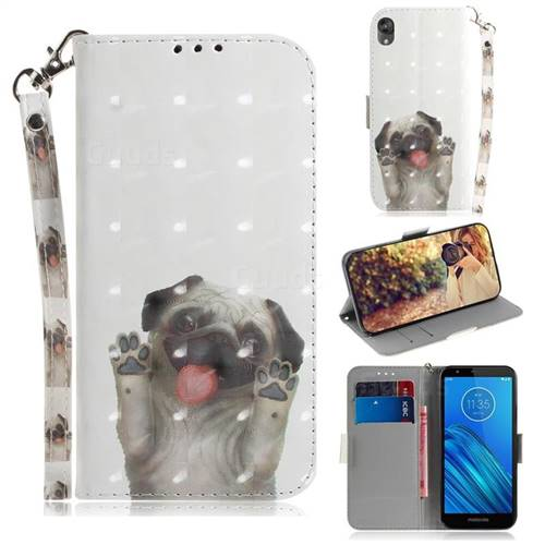 Pug Dog 3D Painted Leather Wallet Phone Case for Motorola Moto E6