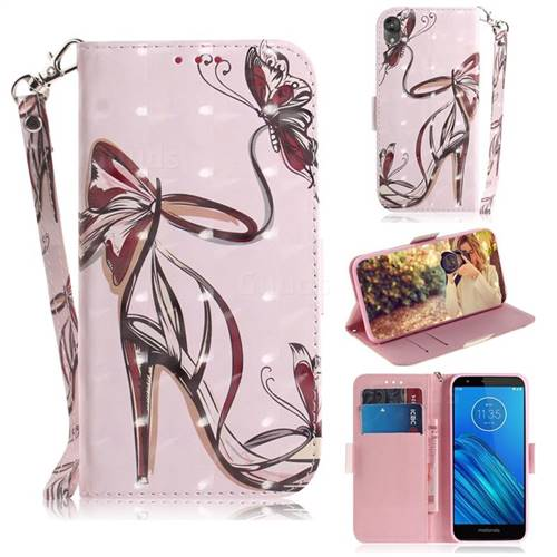 Butterfly High Heels 3D Painted Leather Wallet Phone Case for Motorola Moto E6