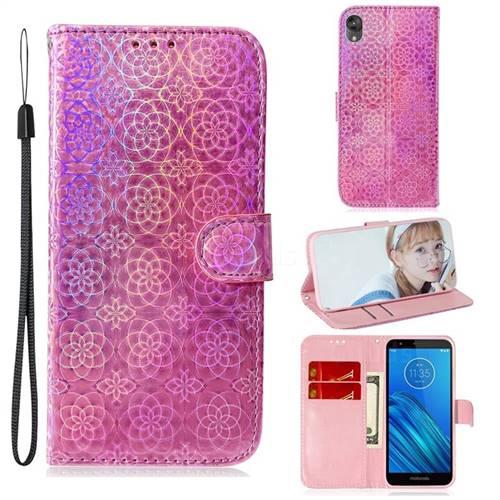 Laser Circle Shining Leather Wallet Phone Case for Motorola Moto E6 - Pink