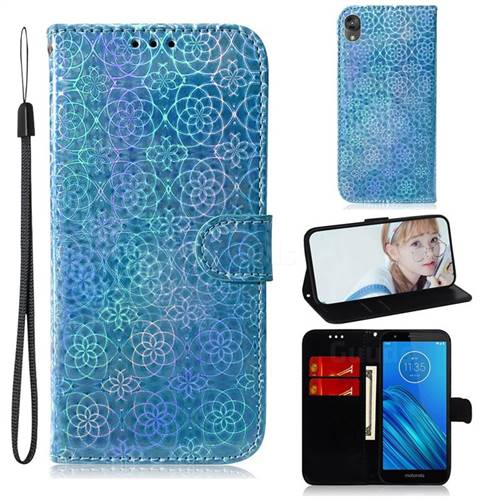Laser Circle Shining Leather Wallet Phone Case for Motorola Moto E6 - Blue