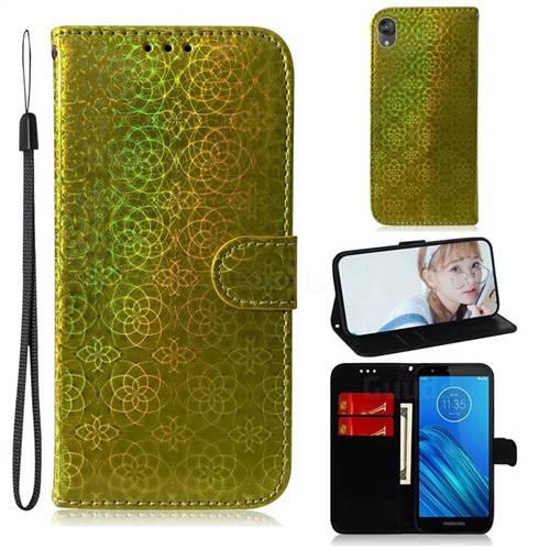 Laser Circle Shining Leather Wallet Phone Case for Motorola Moto E6 - Golden