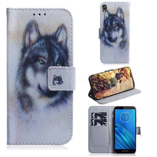Snow Wolf PU Leather Wallet Case for Motorola Moto E6