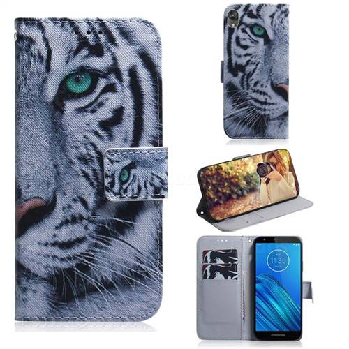 White Tiger PU Leather Wallet Case for Motorola Moto E6