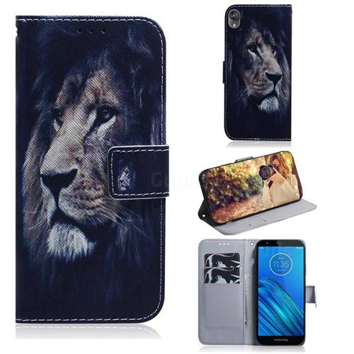 Lion Face PU Leather Wallet Case for Motorola Moto E6