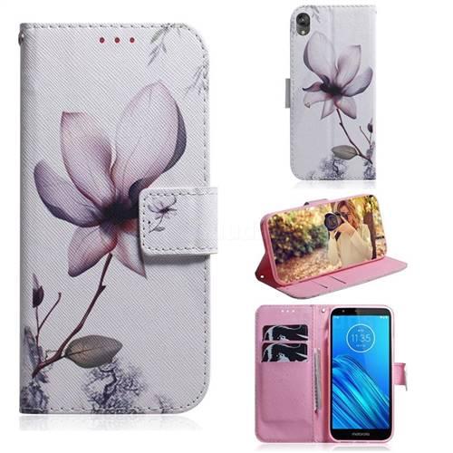 Magnolia Flower PU Leather Wallet Case for Motorola Moto E6