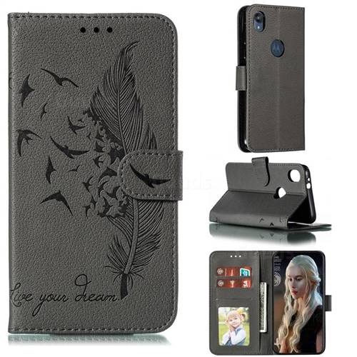 Intricate Embossing Lychee Feather Bird Leather Wallet Case for Motorola Moto E6 - Gray